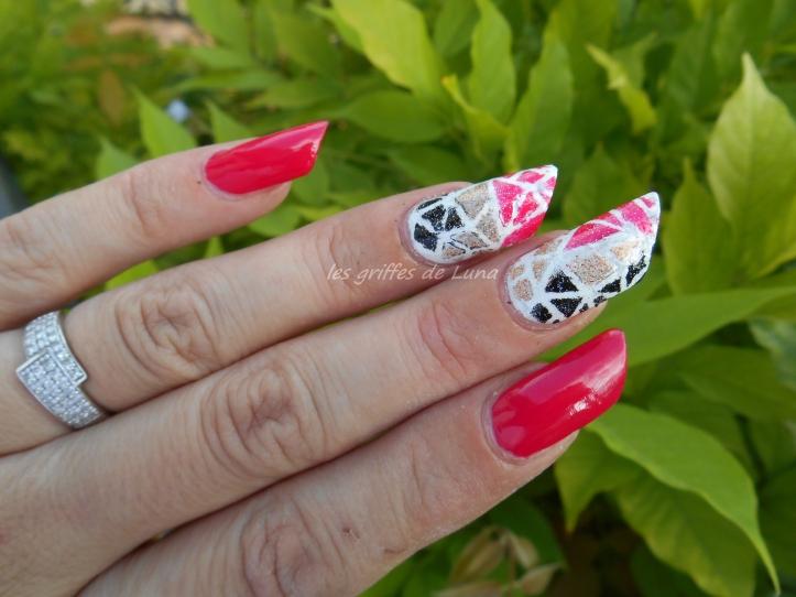 Nail art Mosaique tricolore 1