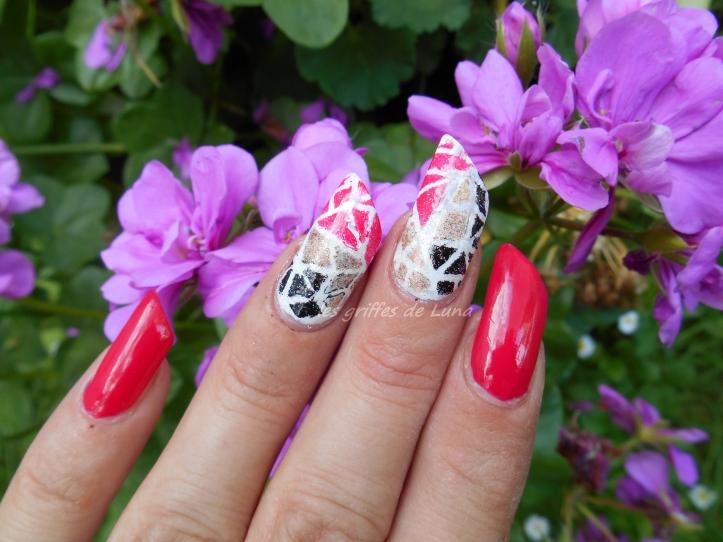 Nail art Mosaique tricolore 3