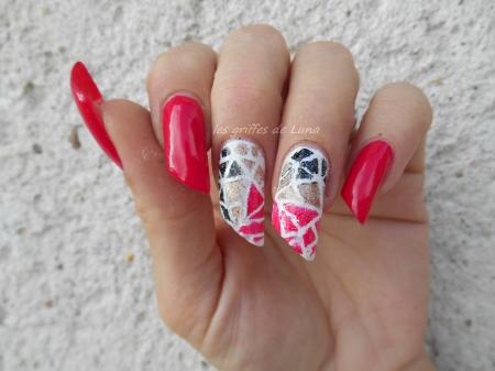 Nail art Mosaique tricolore 4